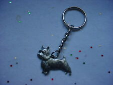 SILKY TERRIER Dog PEWTER Silver KEYCHAIN Christmas ornament Key Ring puppy USA