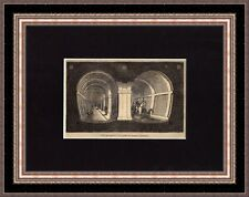 Antique woodcut print :Interior of the Thames Tunnel London 1835 / free mount