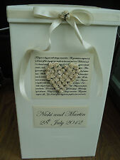 ROSE HEART IVORY WEDDING CARD POST BOX - LARGER SIZE - EVERY COLOUR