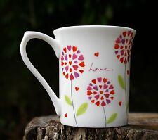 """Love"" Heart Petal Flowers Mug Queens Kitchen Love is all Around Fine Bone China"