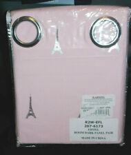 Pink & Silver Eiffel Tower Black Out Room Darkening Window Panel Pair Curtains