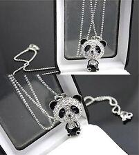 Cute Full Silver Crystal Rhinestone Panda Bear Sweater Chain Necklace Pendant