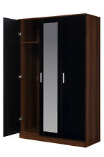 REFLECT 3 Door Wardrobe with Mirror High Gloss Black Walnut Bedroom Storage