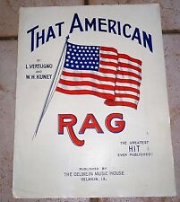 That AMERICAN Rag 1912 Vertugno & Kuney OELWEIN Iowa Publisher HTF Sheet Music!