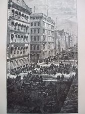 ANTIQUE PRINT 1884 ENGRAVING OF BROADWAY IN NEW YORK USA AMERICA CITY HISTORY