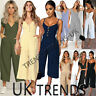 UK Womens Summer Striped Buttons Wide Leg Holiday Jumpsuits Playsuits Culotte