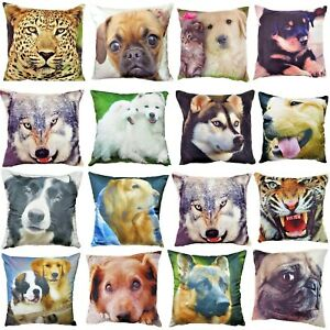 "Luxury Animals Dogs 3D Digital Printed Cushion Covers Soft Velvet Touch 18""x18"""