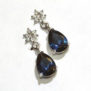 925 Sterling Silver blue white cubic zirconia CZ dangle earrings 2.8g