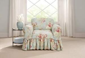 Sure fit Ballad Bouquet Waverly T cushion chair Slipcover Robins egg blue