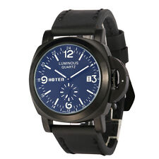 Hoten Black Steel Crown Bridge OX Leather Men's Army Sport Watch Father Day Gift