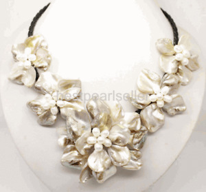 Classic baroque freshwater cultured pearl shell flower leather weave necklace