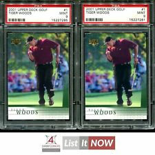 New listing 2001 UPPER DECK GOLF #1 TIGER WOODS RC ROOKIE PSA 9 LOT OF 2 A3683-285
