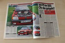 Auto Bild 19965) Peugeot 205 Mi 16 von Gutmann mit 160PS im TEST auf 2 Seiten