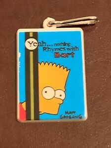 Rare Vintage Bart Simpson Key Ring 2002 Nothing Rhymes With Bart. The Simpsons