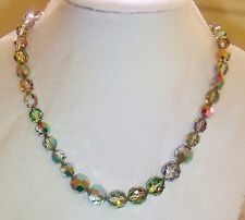 1315~Vintage Signed DeMario Stunning Single Strand AB Crystal Bead Necklace**