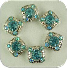 2 Hole Beads Stardust Crystal Gala Aqua & AB Swarovski Crystal Elements ~ QTY 6