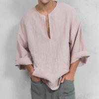 Mens Linen Casual Wide Sleeve T-Shirt Short Kurta Islamic Clothing Top Tee Shirt