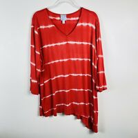 Dressbarn Plus Size 3X Asymmetrical Tie Dye Top Red White 3/4 Sleeve V Neck