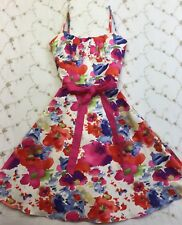 Alyn Paige NY Women's Sundress Colorful Floral Sash Spaghetti Straps Size 5 / 6
