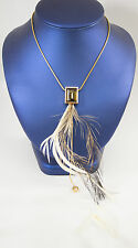 Swarovski Stones and Feather Necklace On Gold Tone Chain
