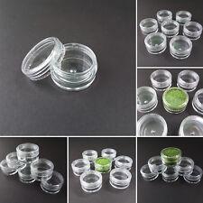 CLEAR PLASTIC SAMPLE JARS POTS GLITTER CREAM COSMETIC NAIL ART STORAGE 5ML