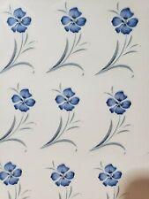 Ceramic decals whispy blue flowers