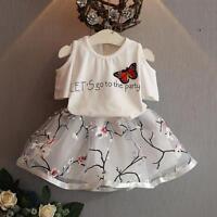 2Pcs Kids Baby Girls Clothing T-Shirt + Skirt Set Summer Tutu Dress Outfits LOT