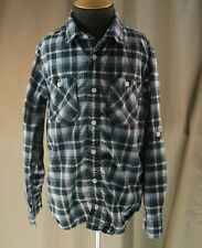 77 Kids by American Eagle, Size 10, Black Plaid Button Front Shirt