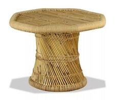 Bamboo Coffee Table Round Octagon Natural Light Brown Fibre Side End Woven Stand