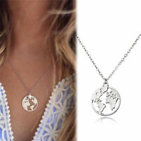 World Map Pendant Necklace Round Hollow Charm Collar Women Fashion Jewelry Gift