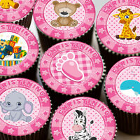CHRISTENING PINK MIXED CUTE BABY ANIMALS EDIBLE CUPCAKE TOPPER DECORATIONS