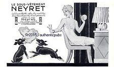 PUBLICITE NEYRET LINGERIE SCOTTISH TERRIER SIGNE RENE VINCENT DE 1933 FRENCH AD