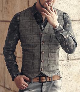 Business Braun Plaid Herren Tweed Weste Vintage Wolle Slim Herringbone Anzug 3XL