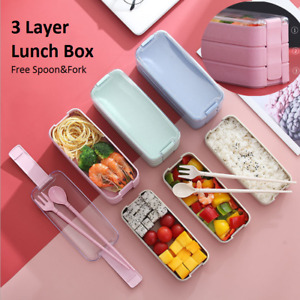 3 Layer Portable Food Container Lunch Box with Flatware Storage Bento Boxes
