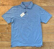 New Authentic Mens Peter Millar Seaside Golf Polo Shirt Blue Pinstripe Sz M