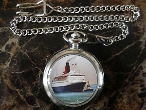QE2 LINER SHIP CHROME POCKET WATCH WITH CHAIN (NEW)