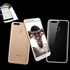 Silikoncase Transparent Tasche + 0,3 H9 Panzerglas für Huawei Honor 8 Pro Hülle