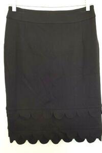 Vintage 90's ANTHEA CRAWFORD women's Designer Black Scalloped Pencil Skirt 8 EUC