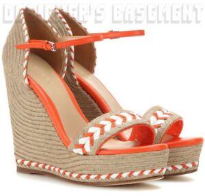 GUCCI orange 38.5 leather trim TIFFANY platform Espadrille WEDGE shoes NIB Auth