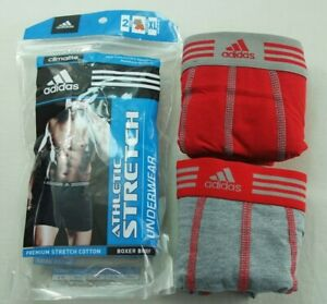Adidas Men's Boxer Briefs 2 Pack XL Red Grey Athletic Cotton Stretch Performance