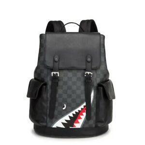 Leather Backpack Shark Face Men & Women Fashion Black Travel Bag Large Capacity