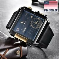 6.11 Square LED Multiple Time Zone Men Watch Luxury Brand