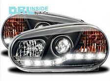 Für VW Golf 4 LED Tagfahrlicht Scheinwerfer Schwarz.1997-2004 Europaweit zugel.