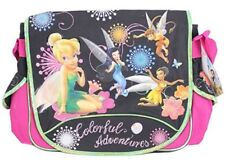 Tinkerbell Large Cloth Messenger Backpack Laptop Bag Sling - With Fairies Black