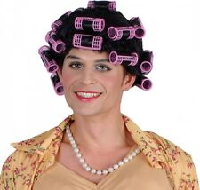 Vieux Mamie drôle femme au foyer Perruque noire & Rollers femmes hommes