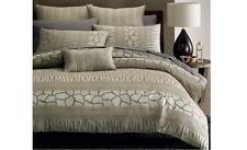 New TANZANIA Linen Grey Stone African Themed QUEEN Quilt Doona Duvet Cover Set