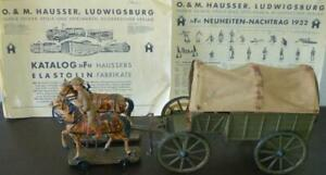 10.5 cm-US Supply Wagon w/Cloth Top-2 Horses-3 Soldiers-Elastolin-Lineol-Hausser