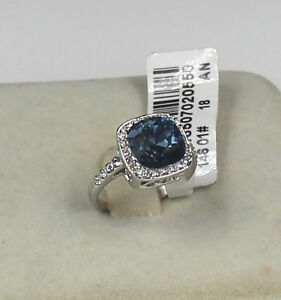 Valentine's Day Genuine White Gold 9 ct simulated diamond link blue Ring size 8