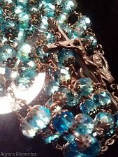 Vintage Christian Rosary Prayer Bead Necklace Aqua Blue Glass Filigree Italy