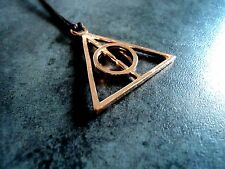 New Harry Potter Deathly Hallows Rose Gold Charm Pendant Necklace in Brown Cord